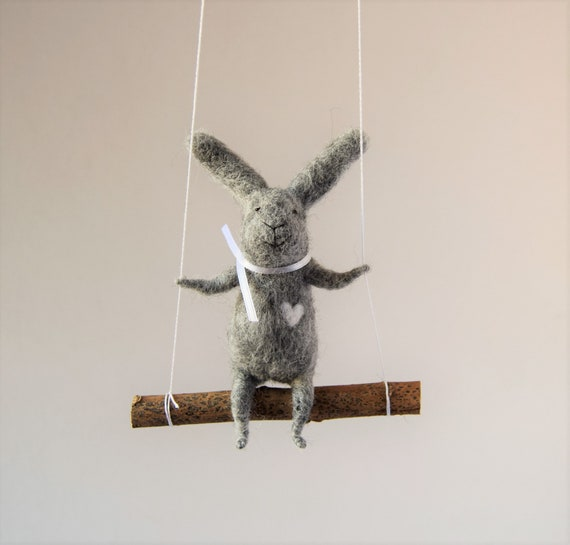 Gray Felted Bunny