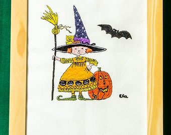 Halloween Witch  beautifully Embroidered on white Canvas