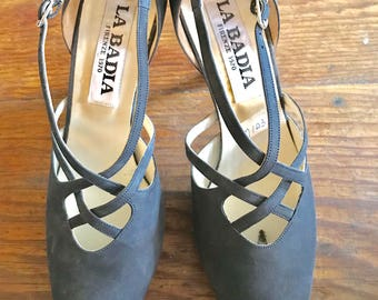 LaBadia new blue suede heels made in Italy