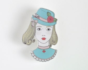 Pretty Girl Pin, Acrylic Brooch, Vintage Pastel Illustration Jewelry