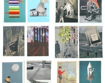 Collage Postcard, Choose 1# 5x7 Large Art Card, Surreal Art, 12 Designs. Printed from Postcard Contemporary Art Postcard, Art Greeting Card