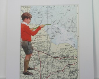 Retro Collage Art Map Art Print from Original Collage, Matted Print, English School Boy On UK Map Humour - The Wash