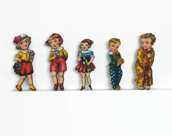 Retro Boy Brooch or Little Girl Brooch, Vintage Style Kids, Cute Pins, Little People Jewelry, Retro Children, Under 5 pounds