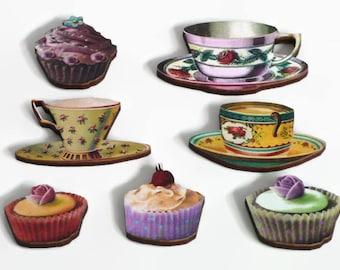 Tea Cup and CupCake Magnet Set, Tea Lover Kitchen Magnets,  Kitchen Decoration Fridge Magnets, Refrigerator Magnets, Teacup Saucer and Cake