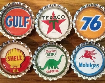 six retro gas station logos on silver bottle cap magnets