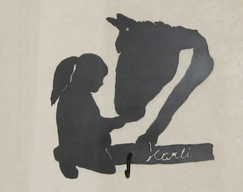 Girl and her Horse metal art personalized  wall hanger with coat hook.