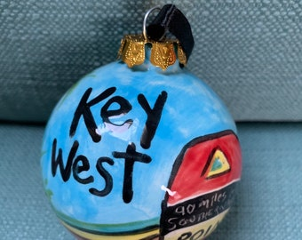 07b04c6ed Key West Ceramic Christmas Ornament - Blue Heaven, Southernmost Point -  Florida Keys