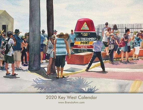 Key West Calendar 2020 2020 Key West Calendar Watercolor Wall Calendar by Brenda Ann | Etsy