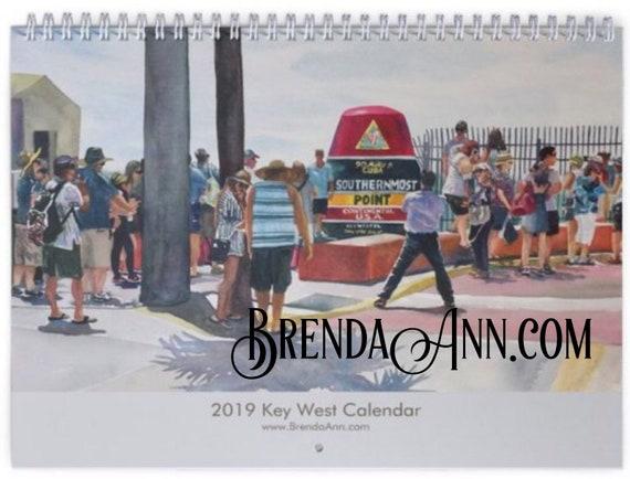 Key West Calendar 2019 2019 Key West Calendar Watercolor Wall Calendar by Brenda Ann | Etsy