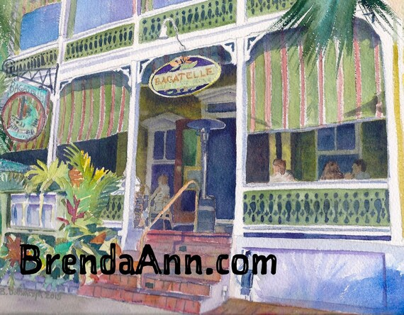 Key West Bagatelle Hand Signed Archival Watercolor Print Etsy