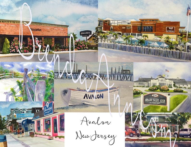 The Princeton Avalon >> Avalon Nj Hand Signed Archival Watercolor Print Wall Art By Brenda Ann