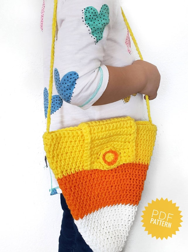 Candy Corn Crochet Purse Pattern Halloween Bag With Strap Etsy
