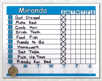 Allowance Chore Chart Shipped Use As Dry Erase Board Your Choice Of Coins Color And Name Ships Complete