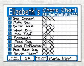 Chore Chart Shipped! Works like Dry Erase Board, Set Chores, Behaviors, Goals, & Rewards