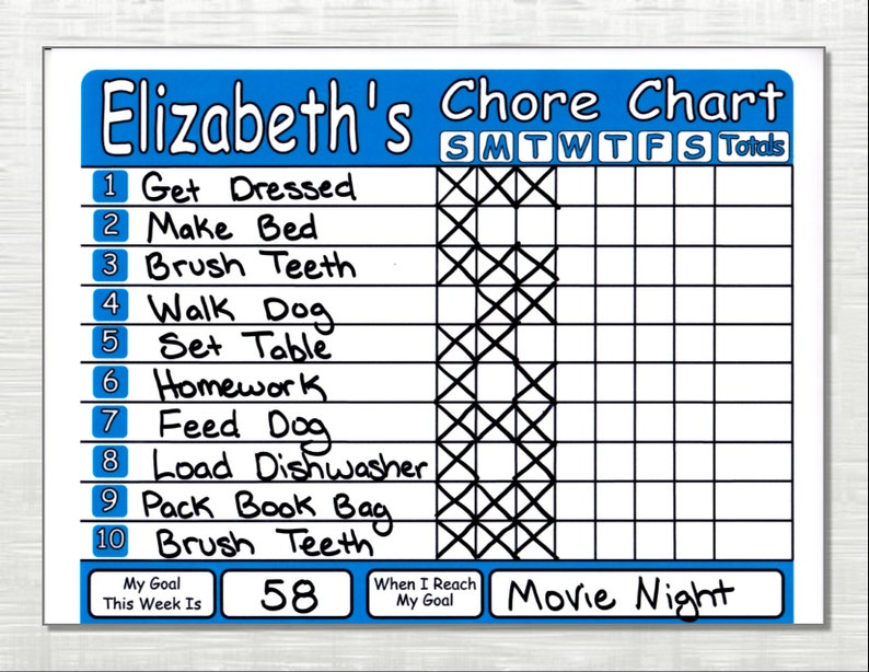 Chore Chart Shipped Works like Dry Erase Board Set Chores image 0