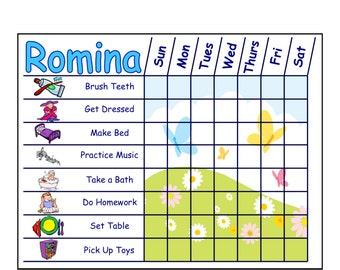 multiple child chore chart template