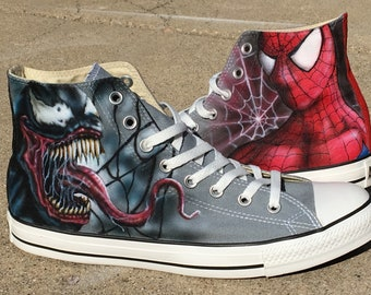 c7102c9bdacf Spiderman and Venom custom Converse All Stars