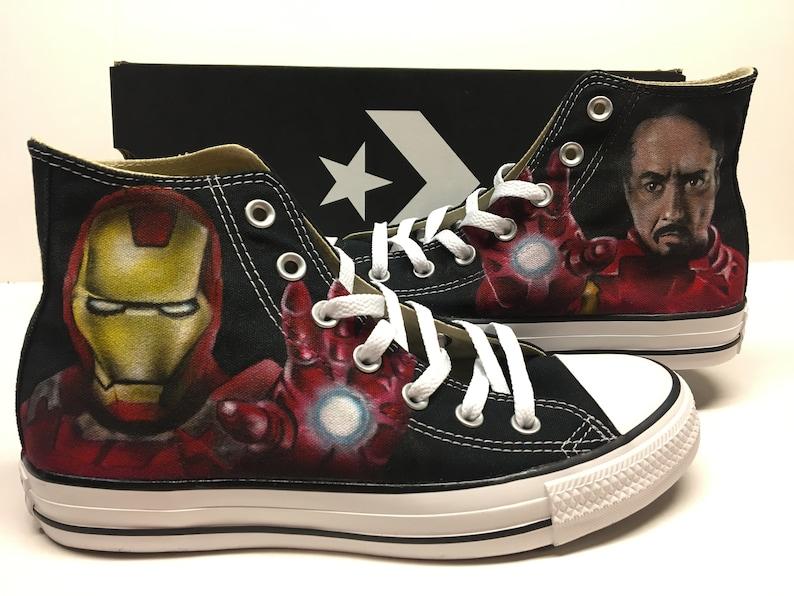 ea8094c4a296 Ironman and Tony Stark fan art custom Converse All Stars