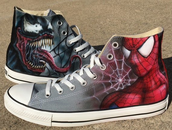 Spiderman and Venom custom Converse All Stars