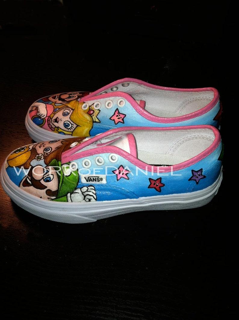 ae0b4ab1a6c0 Princess Peach and Mario Custom Vans shoes