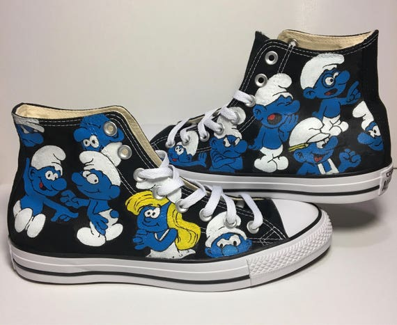 Smurf themed Custom Converse All Star shoes