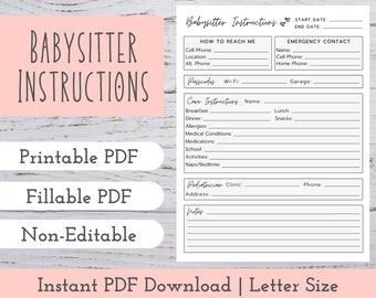 Babysitter Notes | Babysitter Instructions | Babysitting Information | Babysitting Kit | Babysitter Emergency Contact | Babysitter List PDF