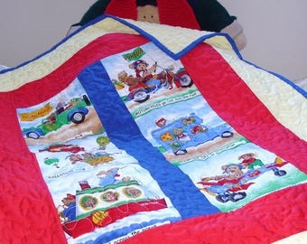"""Hand made boys train quilt, warm and cuddly boys quilt,33.5 X 85"""",41 X104cm, reversible quilt one of a kind,original design by kids knits 1."""