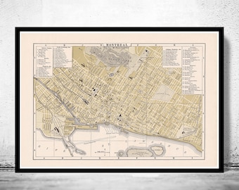 Old Map Of Montreal Etsy - Old montreal map
