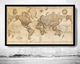 Retro World Map Vintage Map Wall Art Vintage Temperature Map VINTAGE WORLD MAP Vintage Map Reproduction Minimal World Map Art