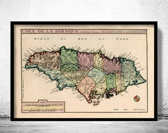 Jamaica Map Etsy - Vintage map of jamaica