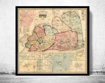 Queens ny map | Etsy on