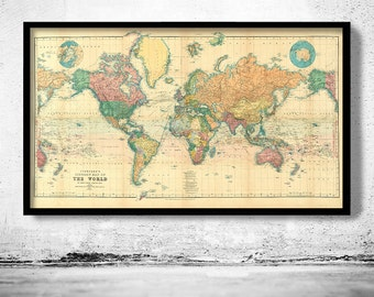 Beautiful World Map Vintage Atlas 1898 Mercator Projection