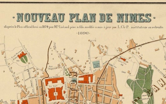 Old Map Of Nimes France 1896 Etsy