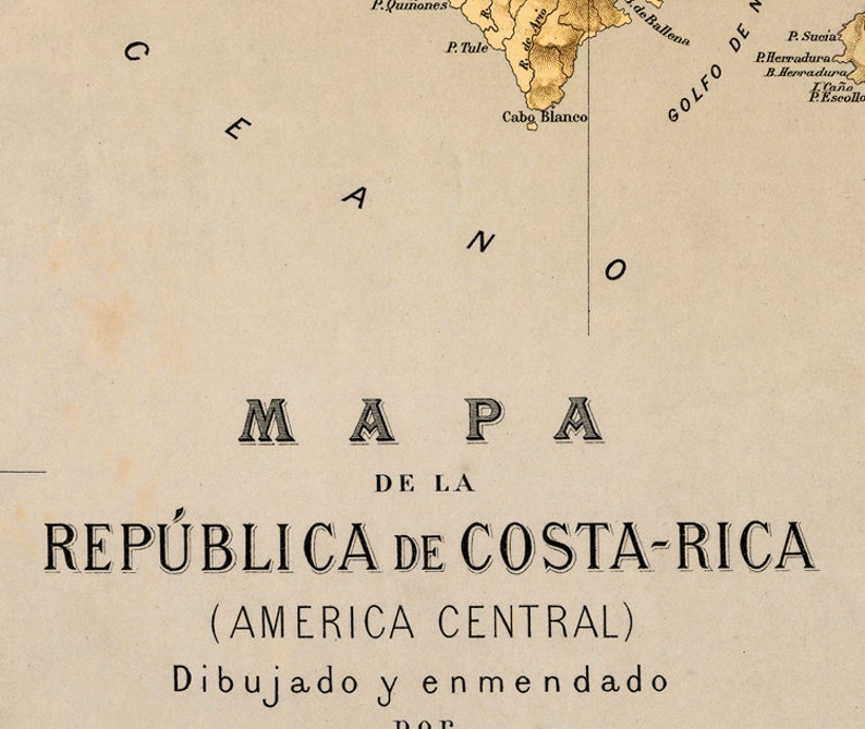 fine reproduction Vintage Poster Wall Art Print Old Map of Costa Rica 1889