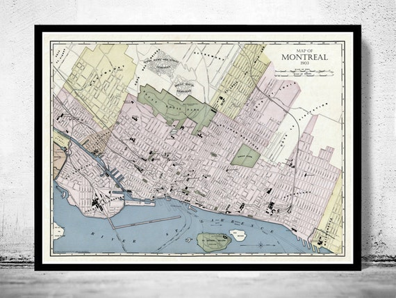 Old Map Of Montreal Canada Vintage Montreal Map Etsy - Old montreal map