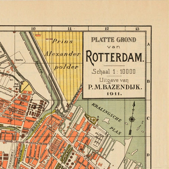 Old Map of Rotterdam, Netherlands 1911 Antique Vintage Map