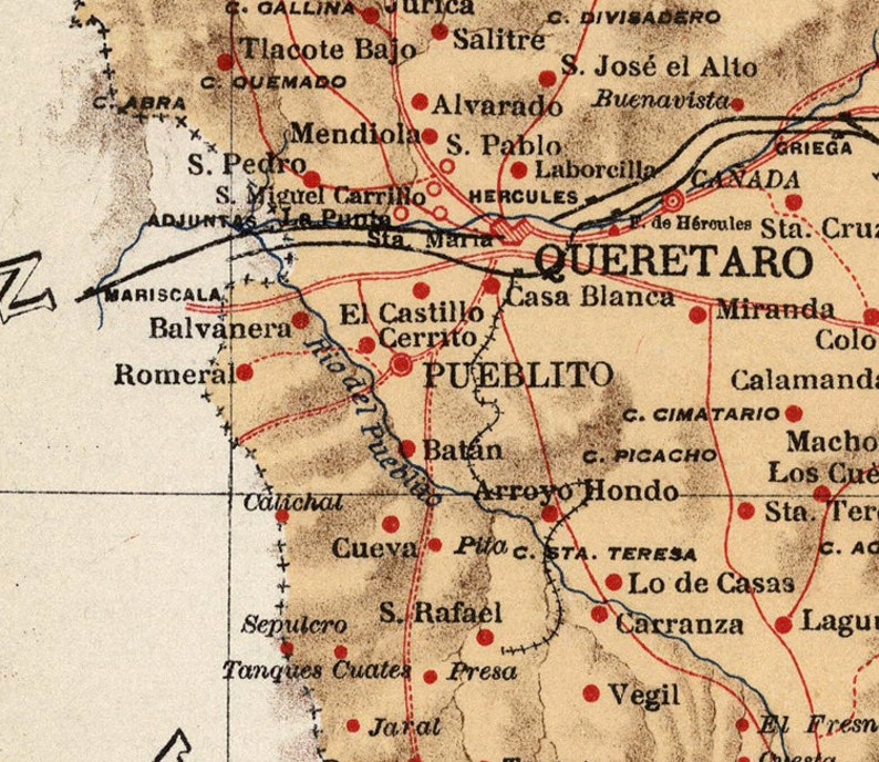 Old map of Queretaro Mexico 1922 | Etsy Queretaro Mexico Map on