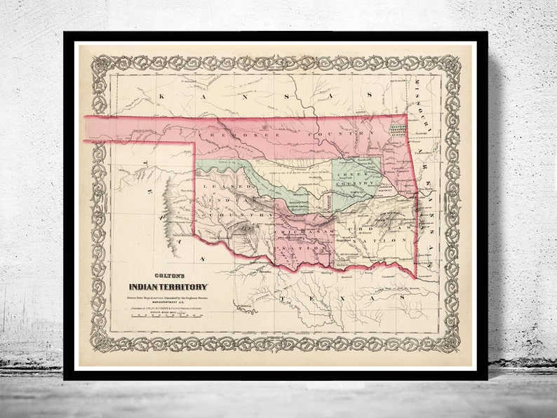 Oklahoma On Map Of United States.Old Map Oklahoma Indian Territory 1869 United States Of Etsy