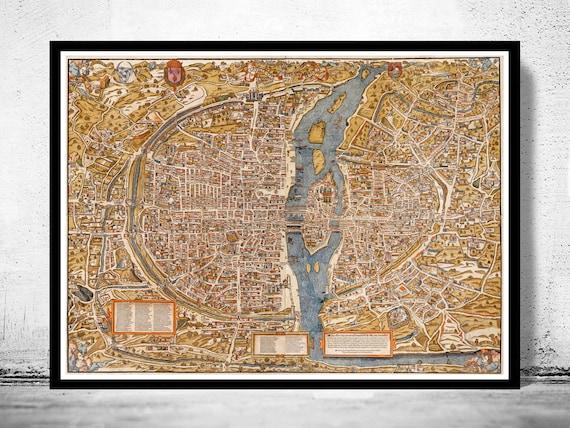 LARGE VINTAGE historic PARIS FRANCE 1550 OLD STYLE wall MAP home decor fine art