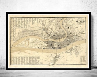 Old Map of Lyon  France 1834
