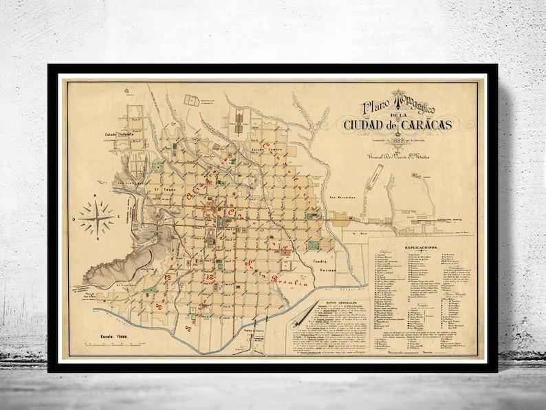 Old Map of Caracas Venezuela 1889 | Etsy Caracas Map on