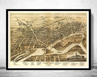 Old Map of Brantford Canada 1875 Panoramic View