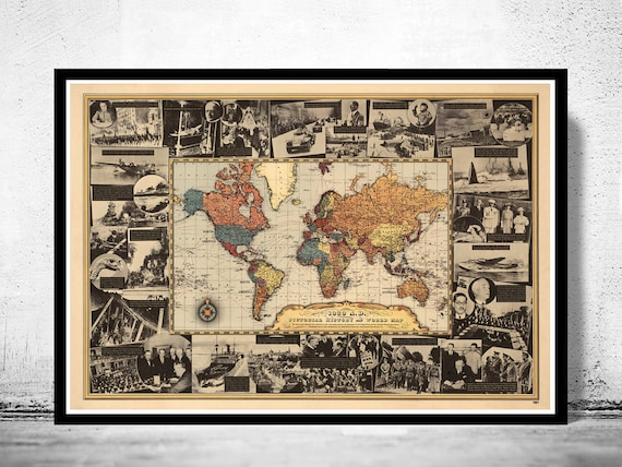 Vintage World Map World War II History 1939