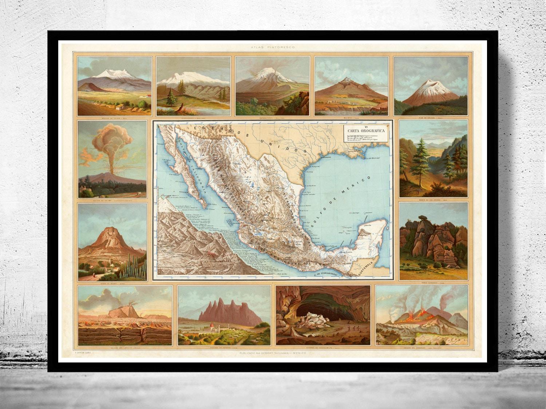 Mapa antiguo de México 1885 | Etsy
