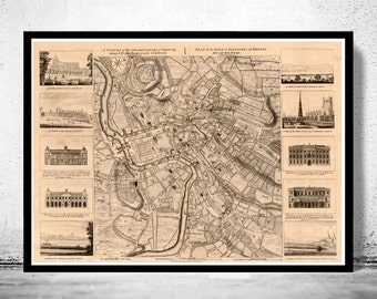 Old Map of Bristol UK 1750