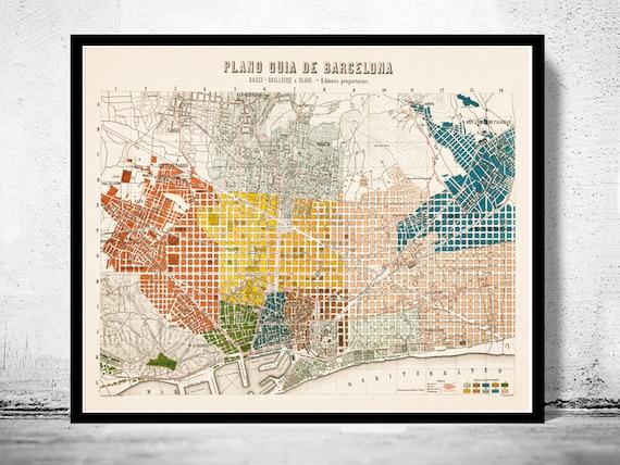 Spanien Katalonien Karte.Alte Karte Von Barcelona Spanien Katalonien 1910 Vintage Karte Barcelona
