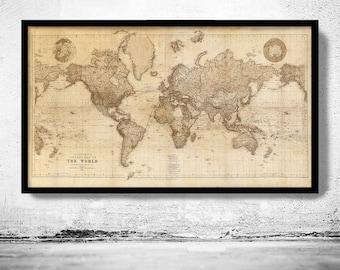 Beautiful World Map Vintage Atlas 1898 Mercator projection SEPIA  | Vintage Poster Wall Art Print | Vintage World Map