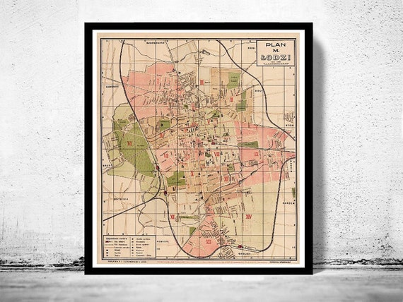 Old Map of Lodz Poland 1927 The Old Map Of Poland on