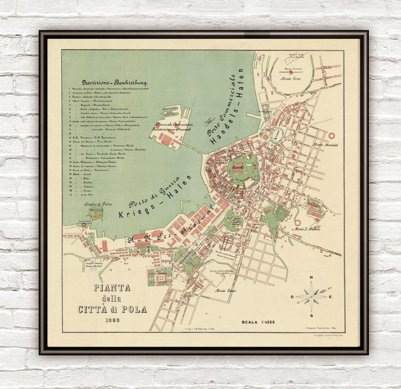Karte Kroatien Pula.Alte Karte Von Pola Pula 1898 Kroatien