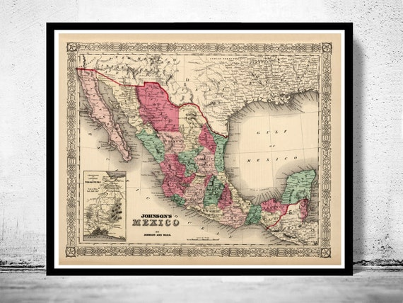 old map of mexico 1865 vintage map etsy